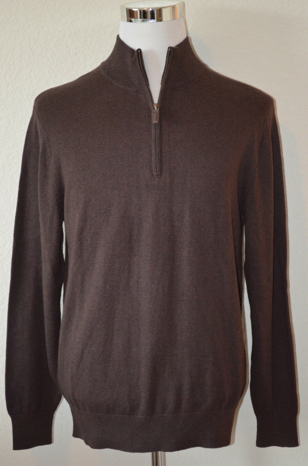 Perry Ellis - Man's XXL Chocolate Brown HALF-ZIP Stand Collar Sweater  (M63)