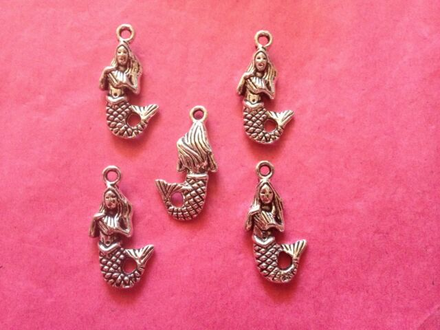 Tibetan silver mermaid charms 5 per pack - seaside/fairytale themes