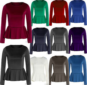 New-Ladies-Plus-Size-Long-Sleeve-Flared-Peplum-Tops-Waisted-Frill-Fitted-Tops