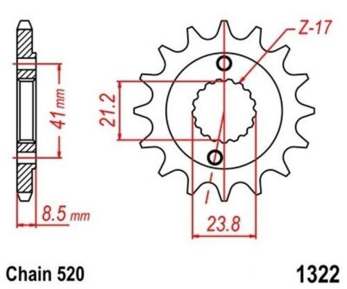 KR Ritzel 16Z Teilung 520 HONDA XR 400 R 1996-2004 front sprocket neu