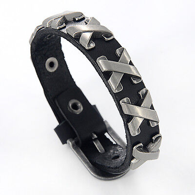 Hot Selling Genuine Leather Male Bracelet Metal Cross Rivets Studded Cuff Bangle