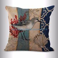 Us Seller- Ocean Marine Nautical Seagull Bird Cushion Cover Pillow Throw Decor