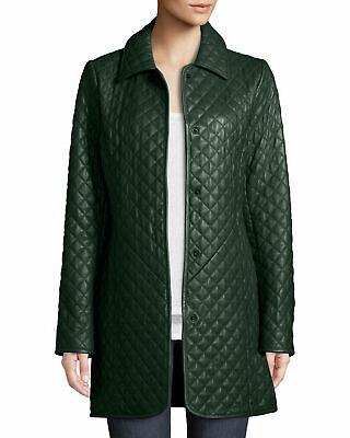 Vintage Green Leather Coat Size M