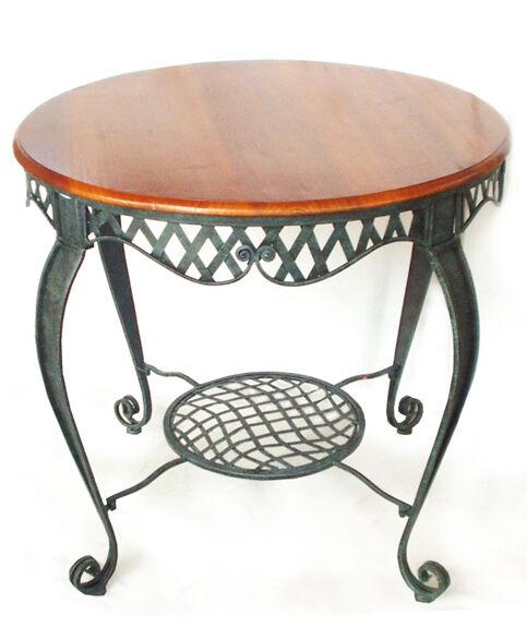 Tavolo tondo in legno e ferro anticato per interno ed esterno arROTo giardino