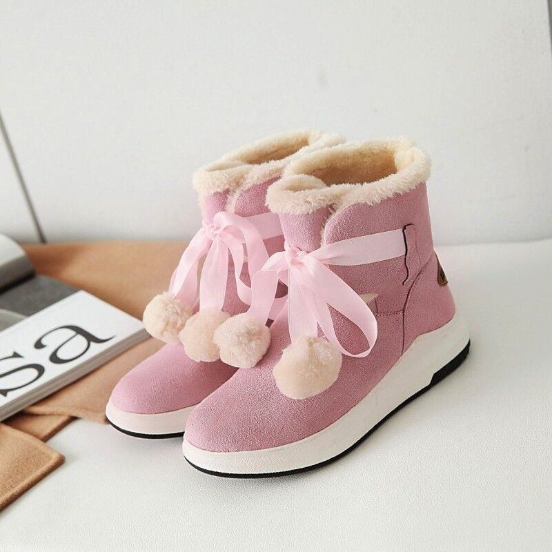 Womens Winter Faux Suede Lace Up POM POM Ankle Boots Warm Fur Snow Boots Size