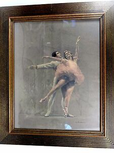 August-von-Munchausen-Mid-Century-NY-Pastel-on-Paper-Ballet-Dancers-Signed