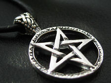 Pentagramm 925'er Silber Anhänger + Echtlederband Gothic Drudenfuss  / KA 077