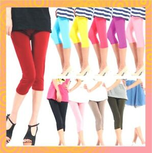New-Womens-Girls-3-4-Length-Plain-Stretch-Soft-Lady-Basic-Leggings-Au-Size-4-16