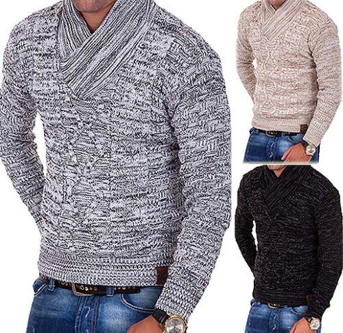 Tazzio pull tricoté Col châle douces pull tricot veste gris//noir
