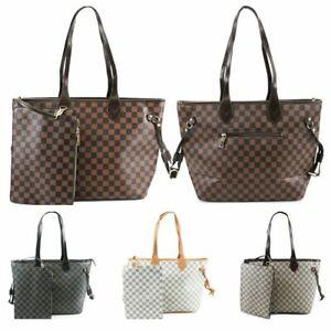 Details zu Ladies Shopper Bag & Clutch Bag Womens Check Floral 2 in 1 Fashion Bags