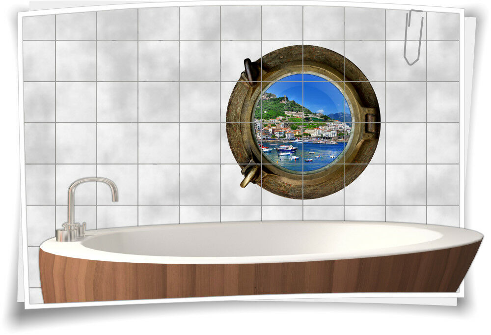 Fliesenaufkleber Fliesenbild Fliesen Bullauge Wasser Meer Urlaub Aufkleber Bad | Online Shop