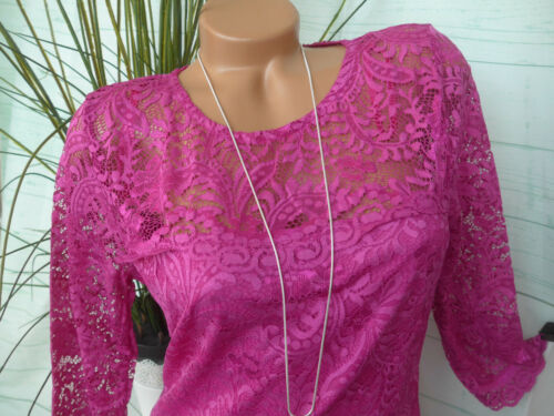 Sheego Robe Anna Scholz Dentelle Robe Taille 40 à 44 rose son NEUF 499