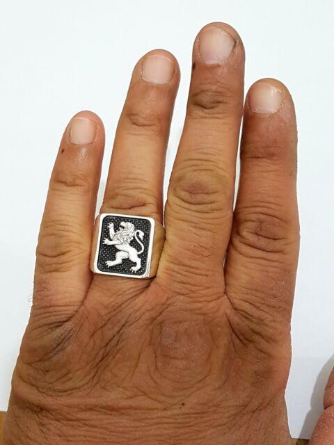 14k  925 Silver Gold Lion of Judah Ring Israel