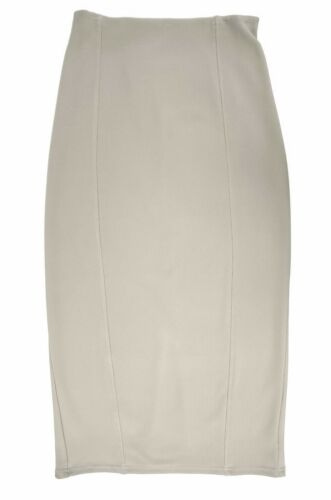 Womens Plus Size Long Stretch Pencil Ponte Split Skirt Beige Taupe LICK Reduced