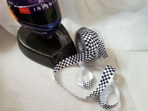 Berisfords FORMULA 1 F1 Chequered Flag Ribbon 15mm 2 widths /& 4 lengths *NEW*