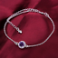 miniature 61 - 925 Sterling Silver Plated Anklet Ankle Bracelet Crystal Foot Chain Ladies CZ UK