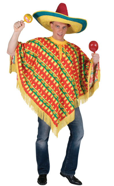 Chilli Print Poncho Mexican Mens Comedy Stag Fancy Dress Costume