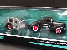 Maisto Tow & Go 1941 Willys & Porkys BBQ Travel Trailer 1:64 Diecast Car Box Set