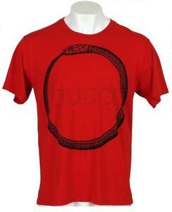 9dfe8f1f89f NEW GUCCI MEN S RED BLACK COTTON SNAKE RING LOGO T-SHIRT M MEDIUM