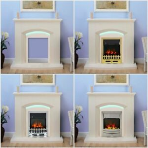 Modern Cream Electric Fire Surround Complete Fireplace