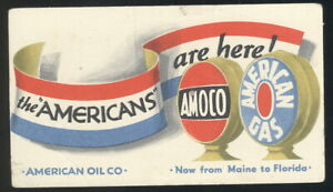 EARLY 1940S INK BLOTTER ADVERTISING AMOCO AND AMERICAN GAS, AMERICAN OIL CO.