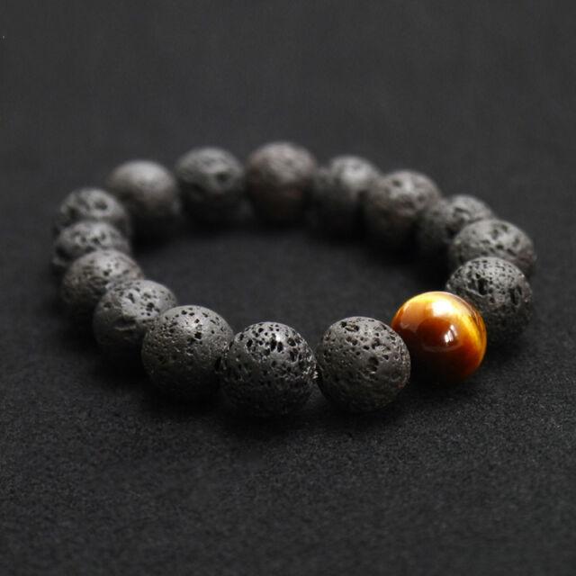 Black Volcanic Lava Stone Tiger Eye 12mm Beaded Bracelet For Men Fashion Jewelry