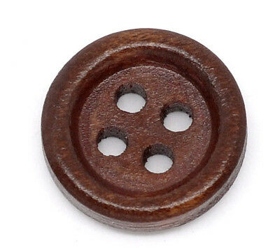 6 Dark Wood round 4 hole  BUTTONS 15mm  Sewing Crafts button art Free P/&P