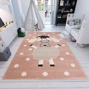 Details Zu Kinderteppich Kinderzimmer Rund Babyzimmer Schaf Gepunktet Teppich Kurzflor Rosa