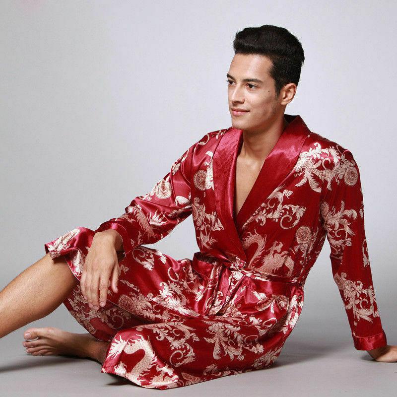 Herren Seide Satin Japanisch Chinesisch Kimono Bademantel Nachtwäsche Brücke