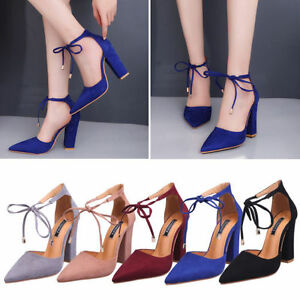 294b553d71e Women Fashion Pointed Toe Sexy High Heel Strappy Ankle Thick Block ...