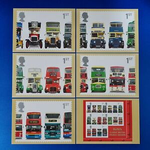Set of 6 PHQ Stamp Postcards Set No.PSM06 Double Decker Buses 2001 MG0