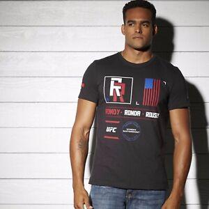 AP6681 MSRP $35 New Men/'s REEBOK UFC FAN Rousey Nickname Tee