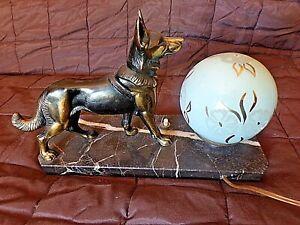 Détails sur Ancienne lampe chevet chien berger allemand veilleuse boule bleu verre fleuri