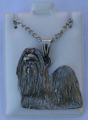 Shih Tzu Puppy Cut Dog Harris Fine Pewter Pendant w Chain Necklace USA Made