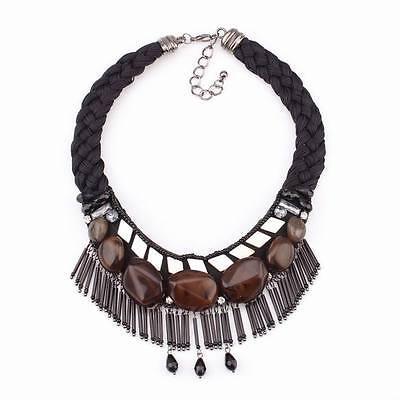 Black Cotton Chain Bead Stone Pendant Necklace Chunky Statement Women Jewelry