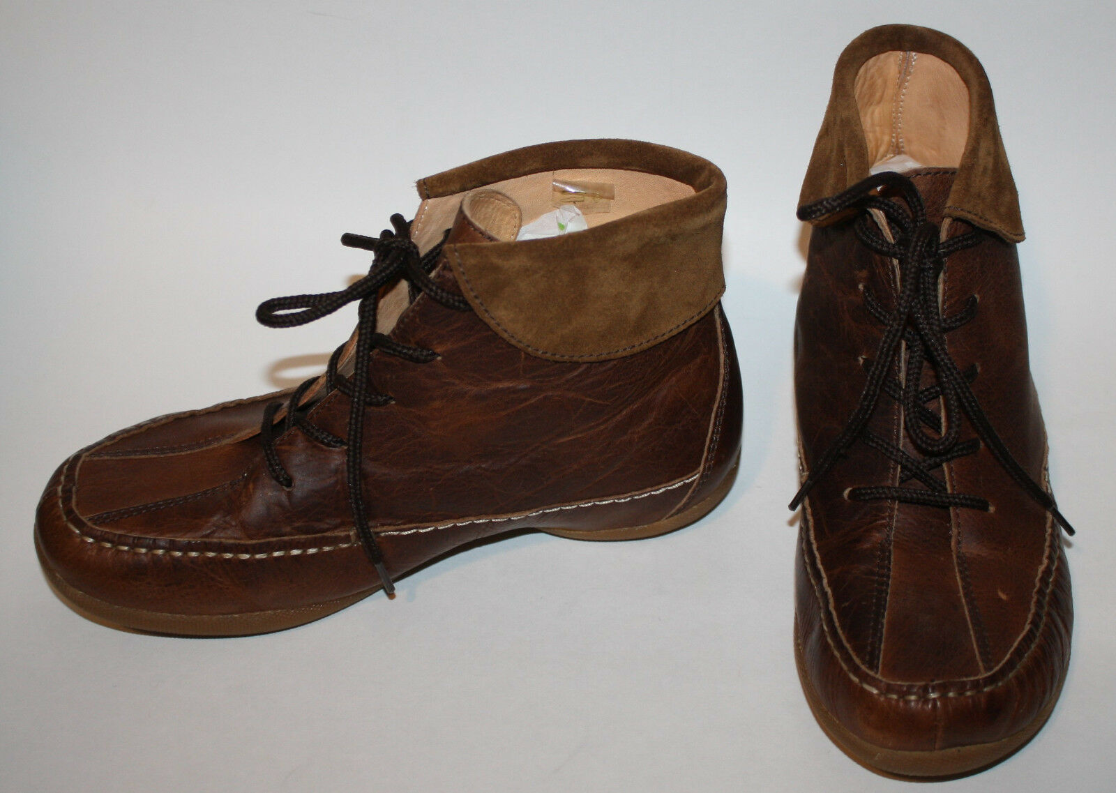 INUITS Brown Leather Ankle Boots NWOB 37 6 6.5 Tie Front