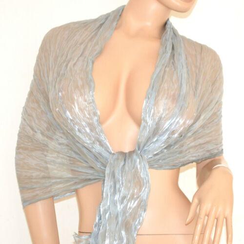 Stola maxi foulard coprispalle donna argento sciarpa elegante cerimonia seta115F