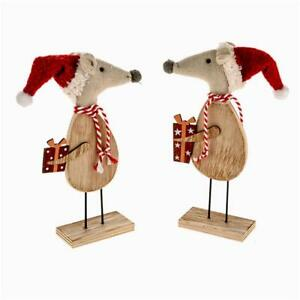 image is loading wooden standing mice christmas xmas novelty decorations choose - Christmas Mice Decorations