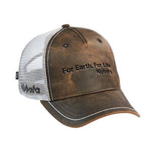 Kubota Branded Brown and White Oilskin Leather Look Cap with Mesh Back