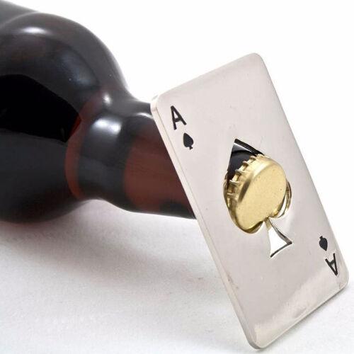 Décapsuleur As de Pique Poker Casino Ouvre-Bouteille Bière Acier Inoxydable Neuf