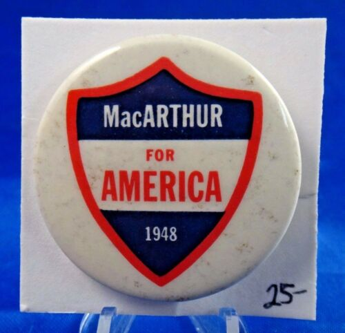1948 General Douglas MacArthur For America Military Patriotic Pin Button 1 34""