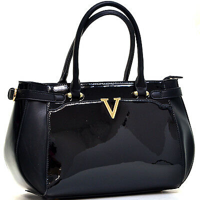 Women Handbag Patent Leather Hobo bag V Shape Accent Satchel with Shoulder Strap