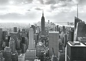 Papier-Peint-Mural-368x254cm-Noir-Blanc-New-York-Horizon-Urbain-Photo-Adhesif