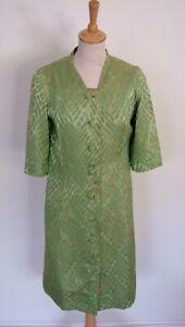 Vintage 30 S 40 S Green Brocade Jacquard Bouton Travail Robe Duster Coat S M-afficher Le Titre D'origine Remises Vente