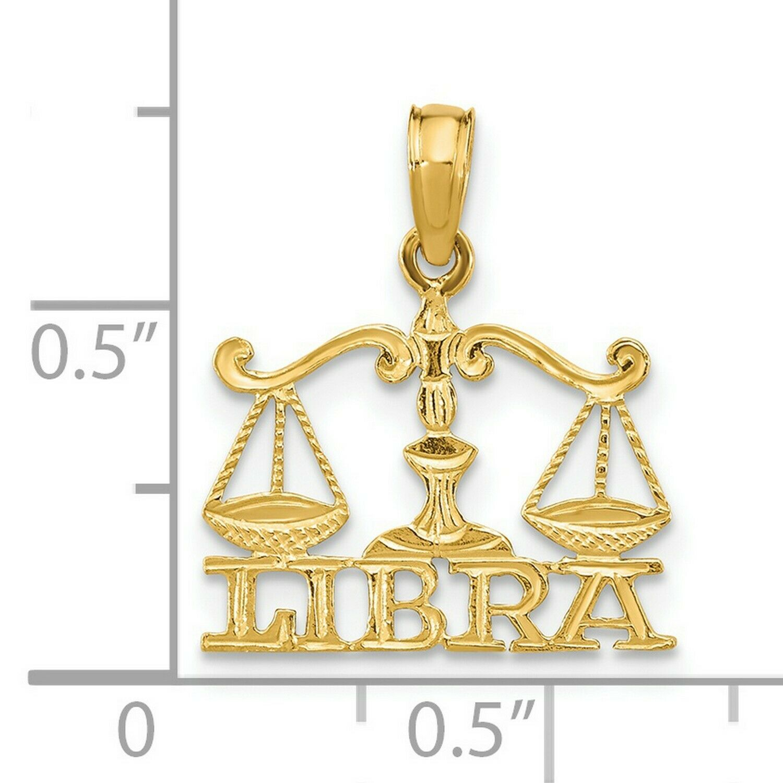 LIBRA ZODIAC FINE PEWTER PENDANT CHARM 15x19x5mm