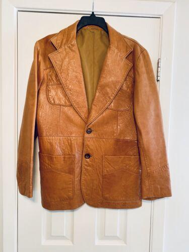 Vintage 1970's Pioneer Wear Tan Brown Leather Bla… - image 1