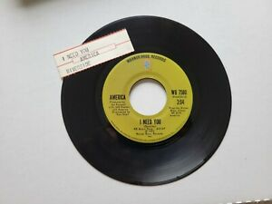 "AMERICA - I Need You / Riverside 1972 SOFT ROCK AOR 7"""
