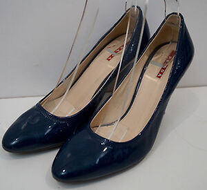 498422ba316 PRADA Women's Blue Leather Patent Almond Toe Stiletto Court Shoes ...