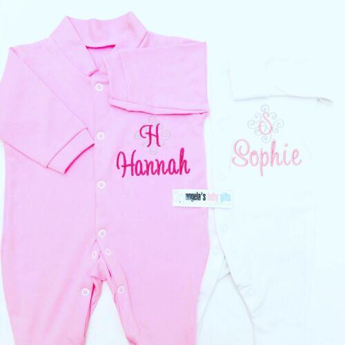 Personalised Monogram Name Baby Grow Sleep Suit Gift Newborn Christening Girl