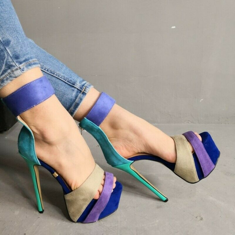 Ladies Nightclub Peep Toe Ankle Strap Pumps Platform Stilettos Prom Sexy 35-47
